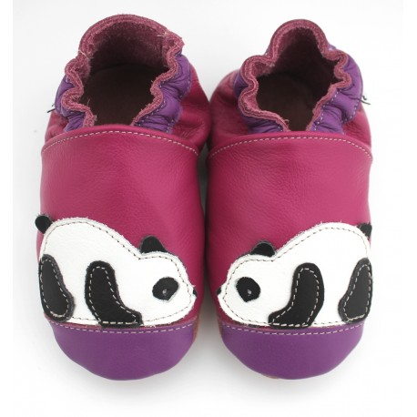 chaussons cuir souple panda prune rose vente en ligne m lim lobio. Black Bedroom Furniture Sets. Home Design Ideas