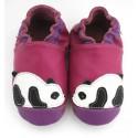 Chaussons cuir souple Panda rose prune