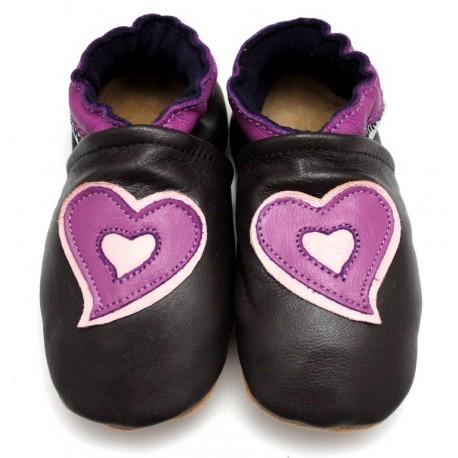 chaussons cuir souple coeur