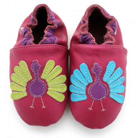 Chaussons cuir souple Paon multicolore
