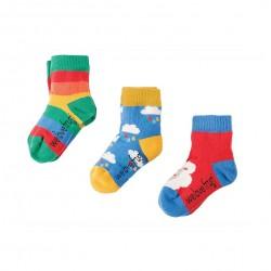 Lot 3 paires chaussettes coton bio Nuages 0-6 Mois