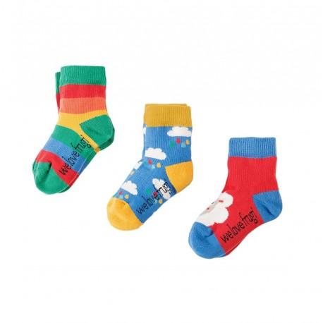 Lot 3 paires chaussettes coton bio Nuages